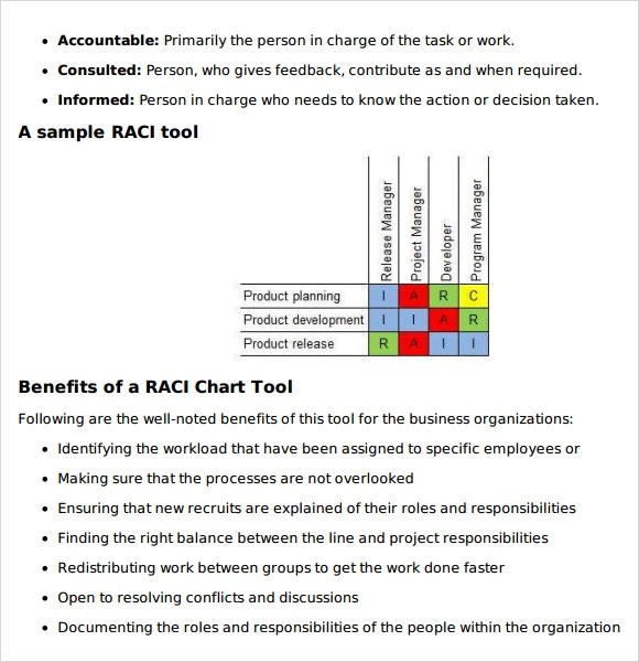 Sample RACI Chart - 6+ Free Documents in PDF , Word , Excel