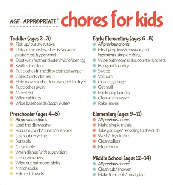 9 Kids Chore Chart Templates for Free Download Sample Templates