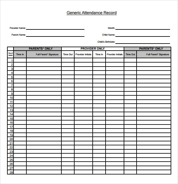 printable attendance chart - 28 images - monthly printable - free printable attendance chart