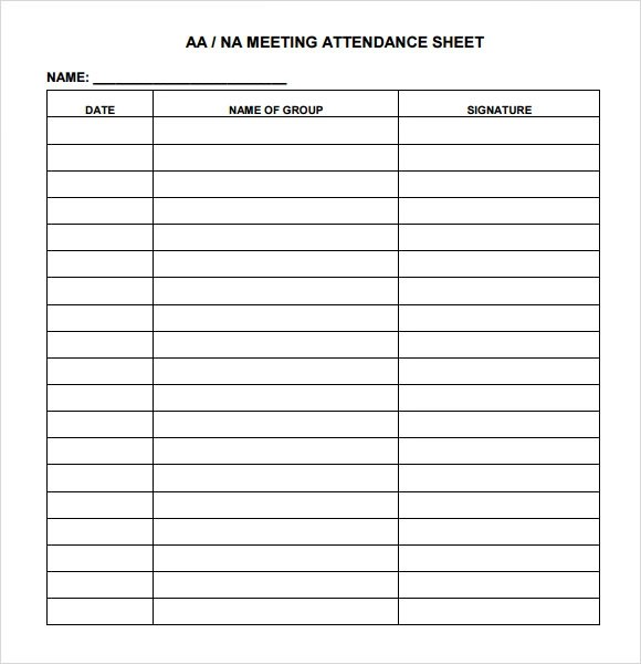 Sample Attendance Chart - 7+ Documents in Word, Excel, PDF - attendance sheet template word