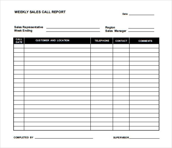 Sample Sales Call Reports - sample sale order template