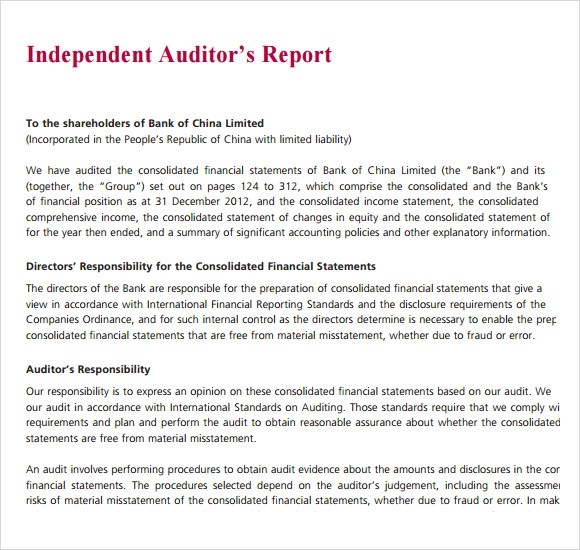 template for audit report - Ozilalmanoof