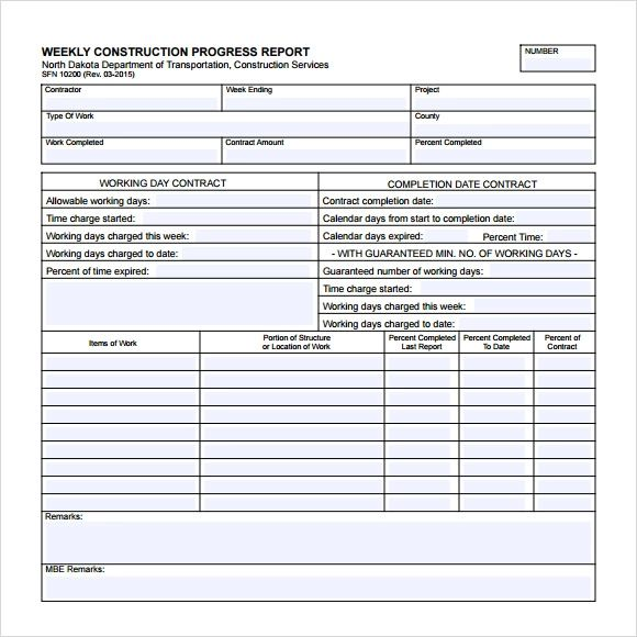 weekly construction progress report template