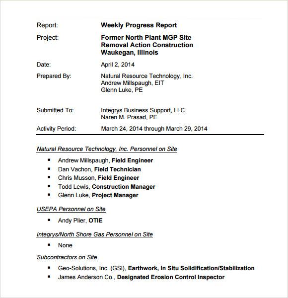 Doc16521277 Weekly Progress Report Sample Doc16521277 Weekly – Sample Weekly Report Template