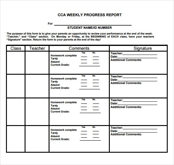 Progress Report Template For Students Pinteres Sample – High School Progress Report Template