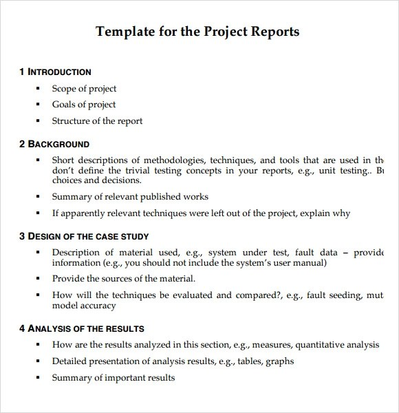 10 Project Report Templates Download for Free Sample Templates - sample project report
