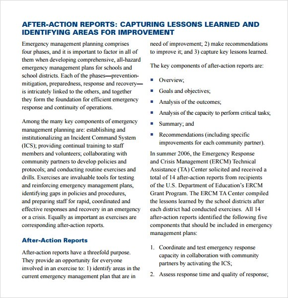 9+ After Action Report Samples Sample Templates