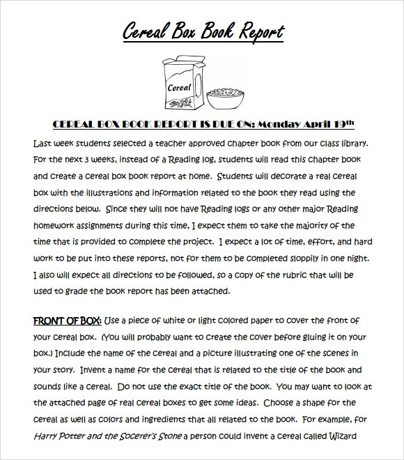 Sample Cereal Box Book Report - 4+ Format,Example