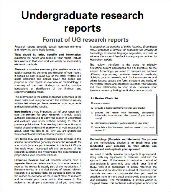 Sample Research Report \u2013 6+ Sample, Example, Format
