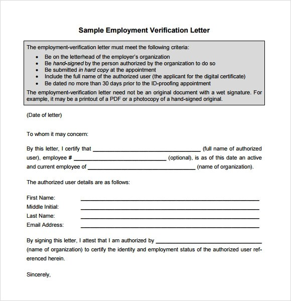 Employment Verification Letter Sample Download Professional Resume