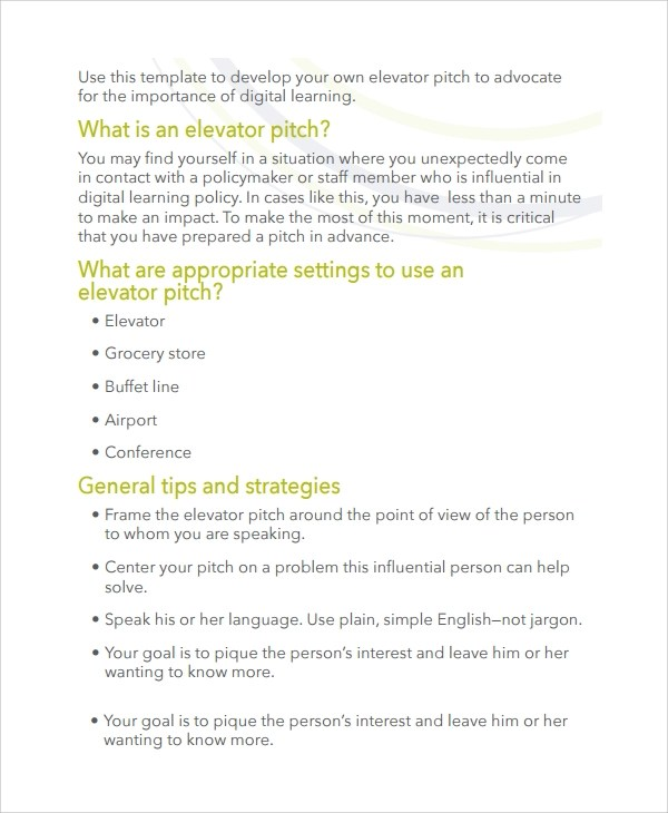 11+ Sample Elevator Pitch Examples Sample Templates - elevator pitch template