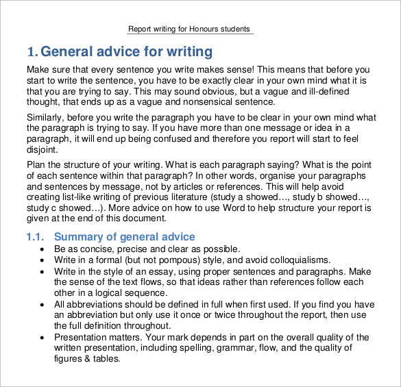 report writing format for students