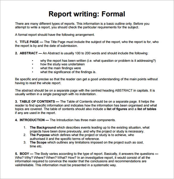 30+ Sample Report Writing Format Templates \u2013 PDF Sample Templates - the report format