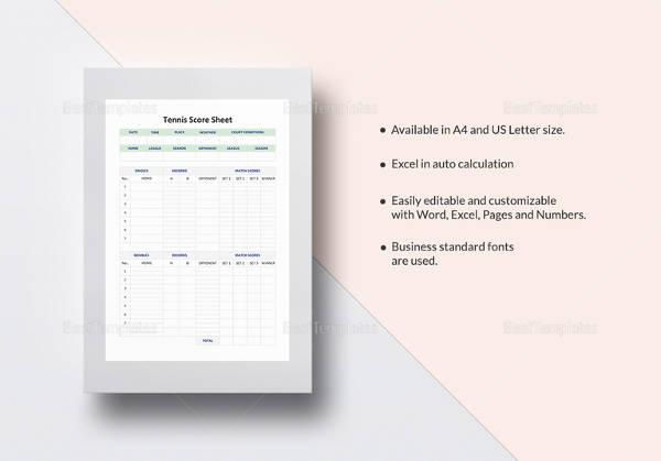 Sample Tennis Score Sheet - 8+ Documents in PDF - sample tennis score sheet template