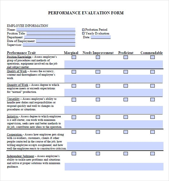 Employee Evaluation Forms And Performance Appraisal Form Samples – Sample Job Performance Evaluation Form