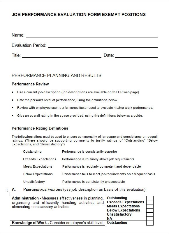Sample Job Performance Evaluation Form Exempt Positions | Sponsor