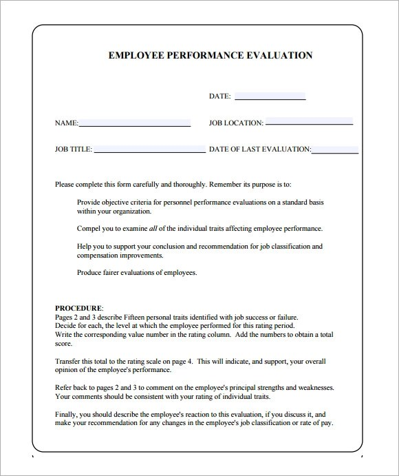 Sample Performance Evaluation Form - 7+ Documents in PDF, Word - job performance evaluation form templates