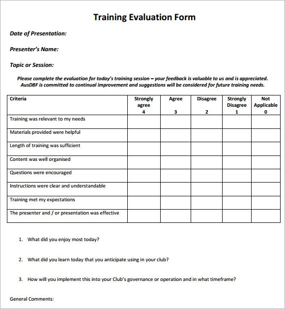 Post Training Evaluation Form | Create A Resume In Excel