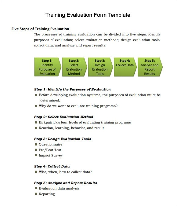 Sample Employee Training Evaluation Form – Sample Training Evaluation Form