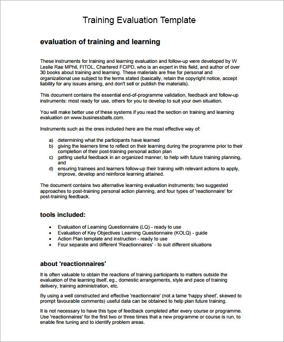 Training Evaluation Form Sample \u2013 8+ Free Examples  Format