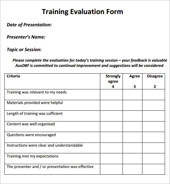 evaluation template - Maggilocustdesign - sample evaluation forms