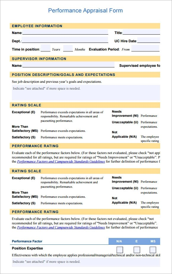 13 Employee Evaluation Form Sample \u2013 Free Examples  Format Sample