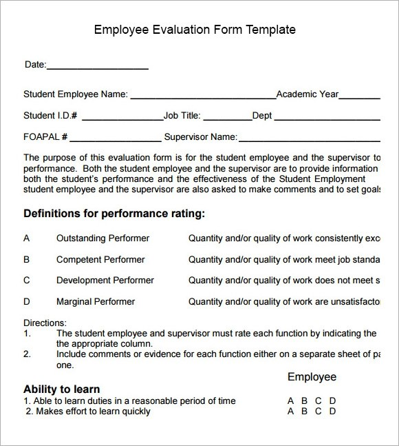 Employee Performance Evaluation Forms Examples | Management