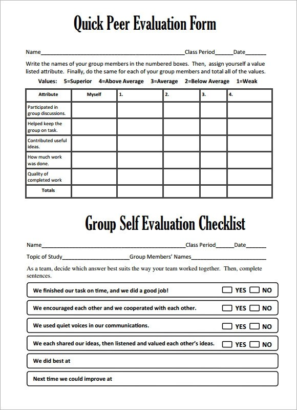 Peer Evaluation Form Sample  EnvResumeCloud
