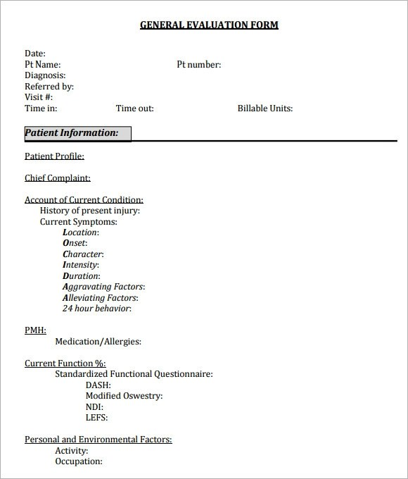 General Evaluation Template