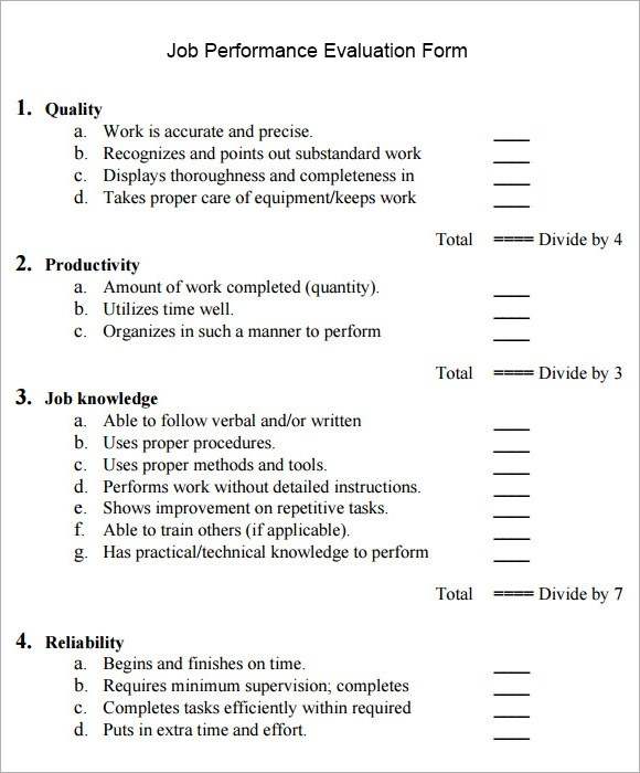 Job Performance Evaluation - 10+ Download Documents in PDF