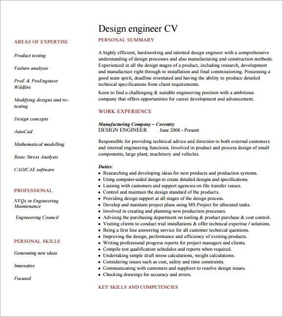 8+ Engineering CV Templates Sample Templates