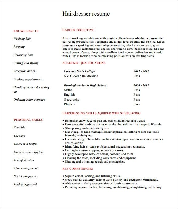 hairdresser resume template download