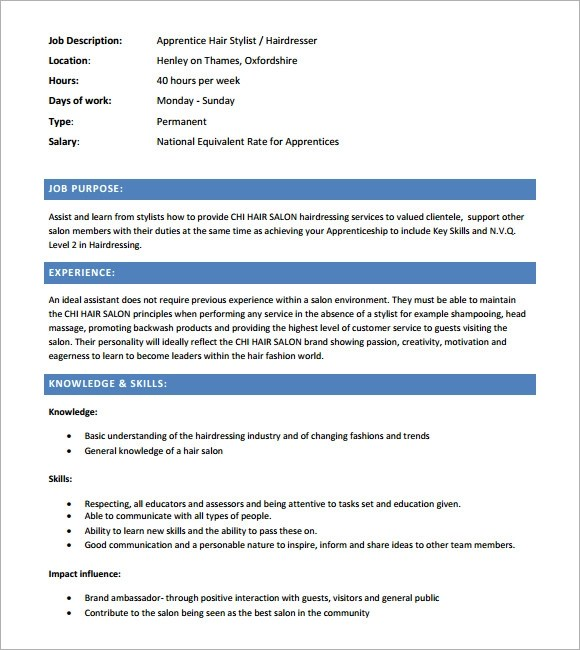 Dietary aide description for resume – Hair Stylist CV Template