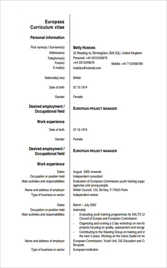 Sample Europass Curriculum Vitae - 6+ Documents in PDF, Word