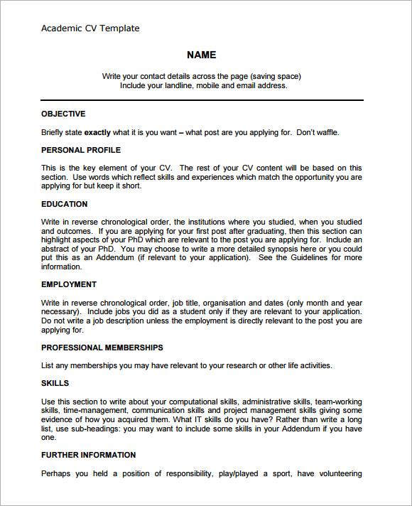 academic cv word template