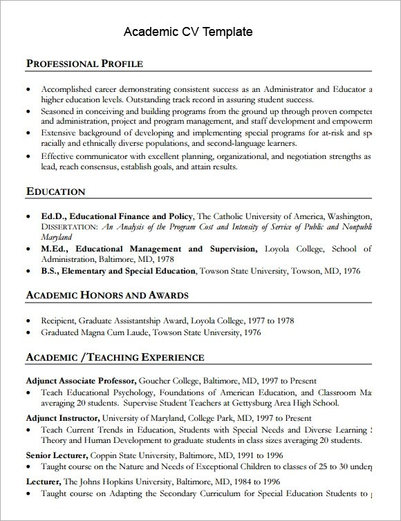 Sample Cv In English Helsinkifi Sample Academic Cv Template 8 Download Documents In Pdf
