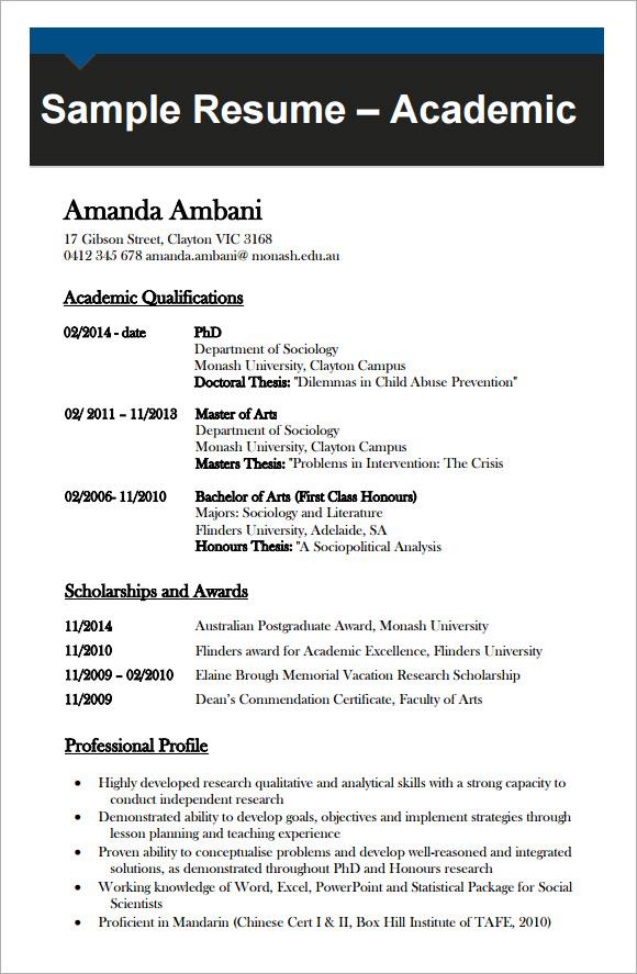 template cv academic
