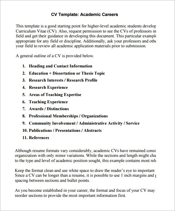 academic cv templates samples - Academic Cv Template