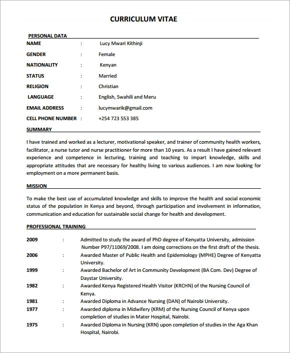 Formato De Curriculum Vitae Para Llenar Free Samples Sample Nursing Cv 7 Documents In Pdf Word