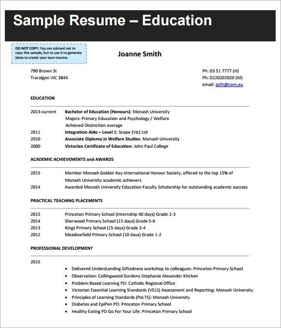 51 Teacher Resume Templates Free Sample Example Format Sample Teaching Cv Template 8 Download Free Documents