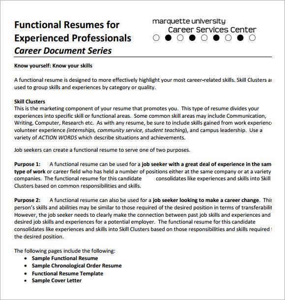Sample Functional CV - 9+ Documents in PDF, Word