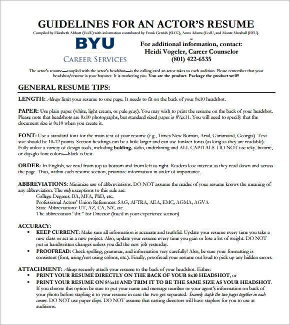 Sample Acting CV Template - 7+ Download Documents in PDF - acting cv template