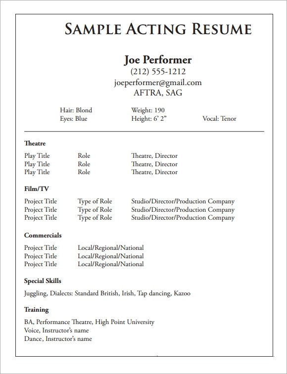 free resume format examples pretentious - Resume Format For Actors