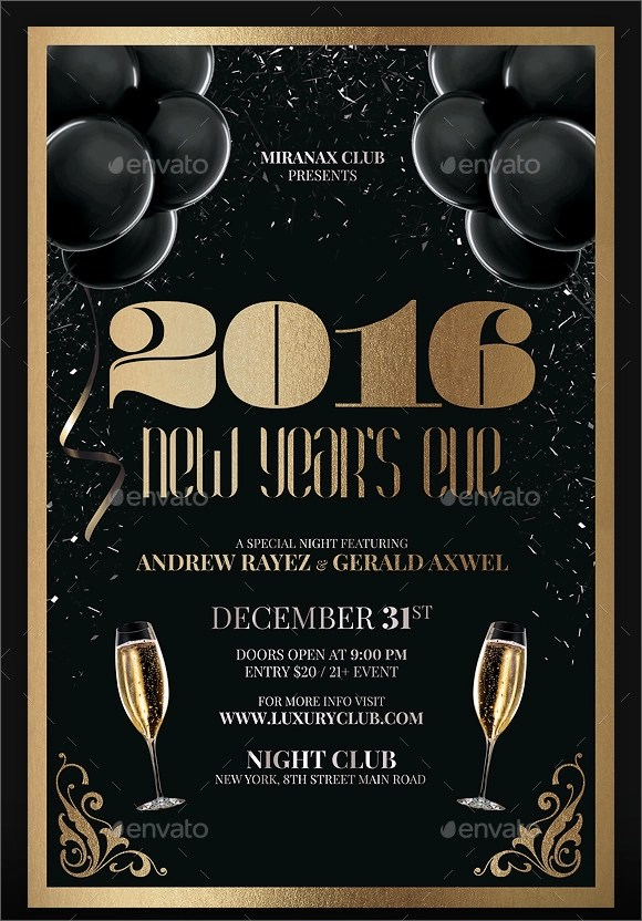 Free Christmas Party Happy New Year Flyer Template New Year Party - free new years eve flyer template