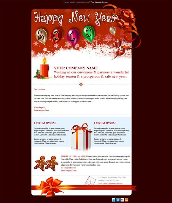 email christmas card template free