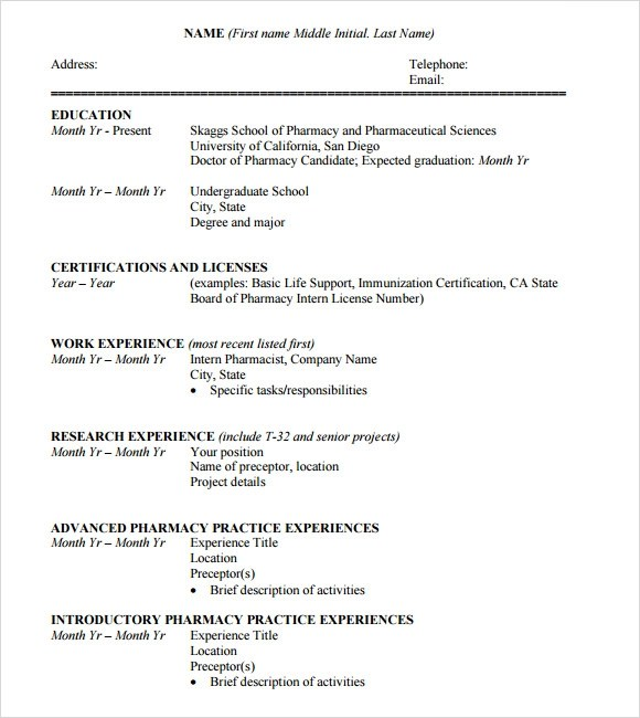 Curriculum Vitae Format For Undergraduate Students  Cover Letter