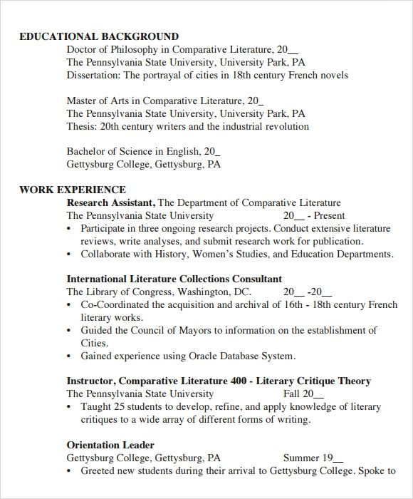 cv template for university students