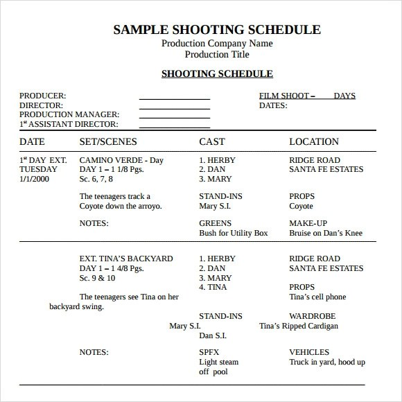 13+ Sample Shooting Schedules Sample Templates