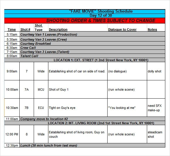 13+ Sample Shooting Schedules Sample Templates - time table excel