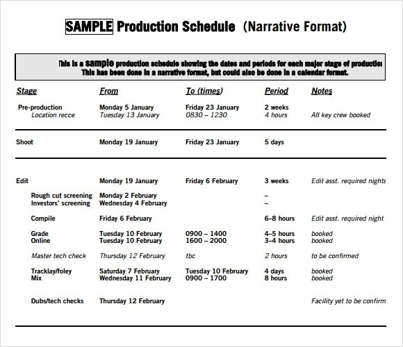 7 Production Schedule Templates Download for Free Sample Templates - sample production schedule template